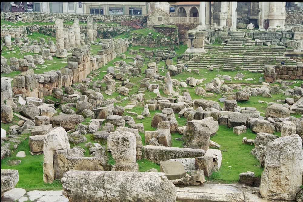 title: Baalbeck Heliopolis Green Grass and RUins