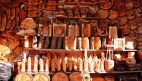 title: Cedar Wooden Carved Souvenirs in the Cedars Mountain Region of Lebanon