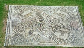 Colorful Preserved Stone Mosaic in the Courtyard Garden of Beiteddine Palace