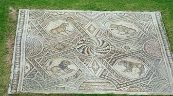 title: Colorful Preserved Stone Mosaic in the Courtyard Garden of Beiteddine Palace