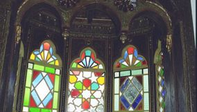 Colorful Stained Glass Window Pane Inside Beiteddine Palace