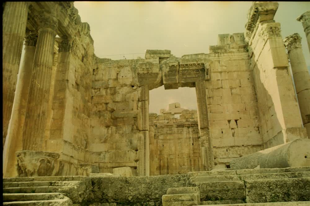 title: Entrance to Ancient Roman Temple in Bekaa
