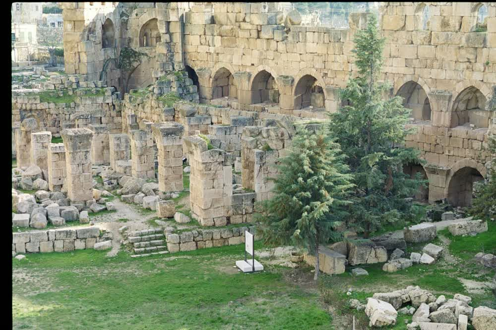 title: Green Grass and Antique Roman Ruins in Baalbek