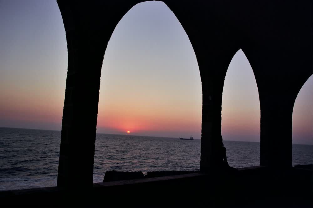 title: Lovely Sunset Scenery Seen from Our Lady of the Sea Church