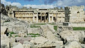 Lovely View of the Great Court Panorama of Baalbek