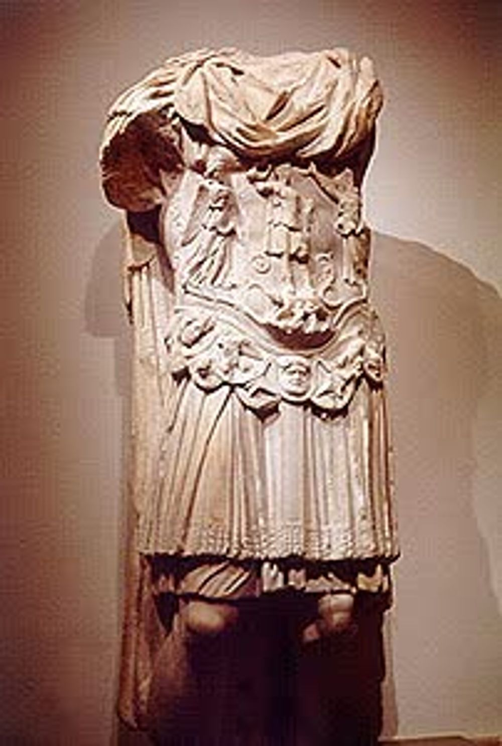 title: Old Broken Headless Roman Statue Monument at the Beirut National Museum