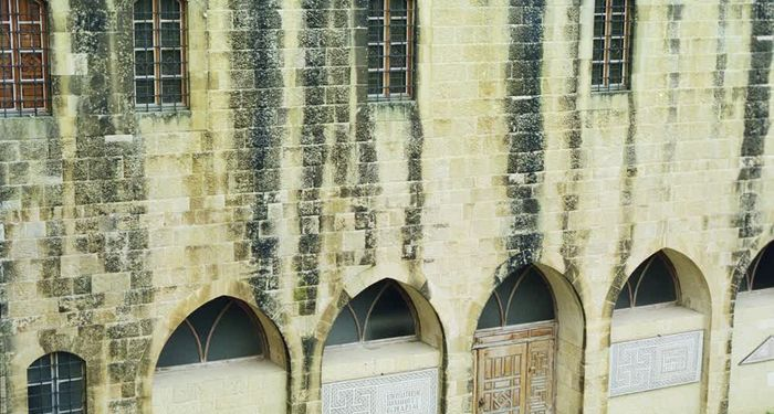 title: Old Exterior Walls of the Historic Beiteddine Palace