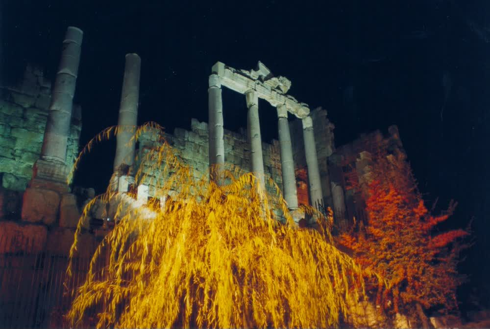 title: Old Roman Pillars of Ancient Temples at Night Festival