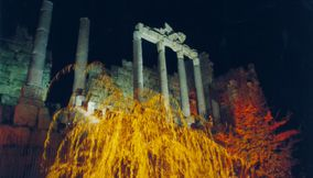Old Roman Pillars of Ancient Temples at Night Festival