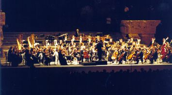Orchestra Playing in the Evening on the Roman Site