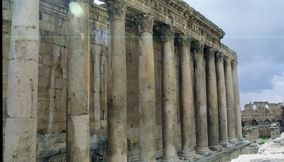 Panoramic View of Temple Pillars in Baalbek