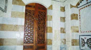 title: Small Wooden Cupboard in Beiteddine Palace Ornately Decorated