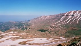 Snow in Nature on the Mountains of Lebanon
