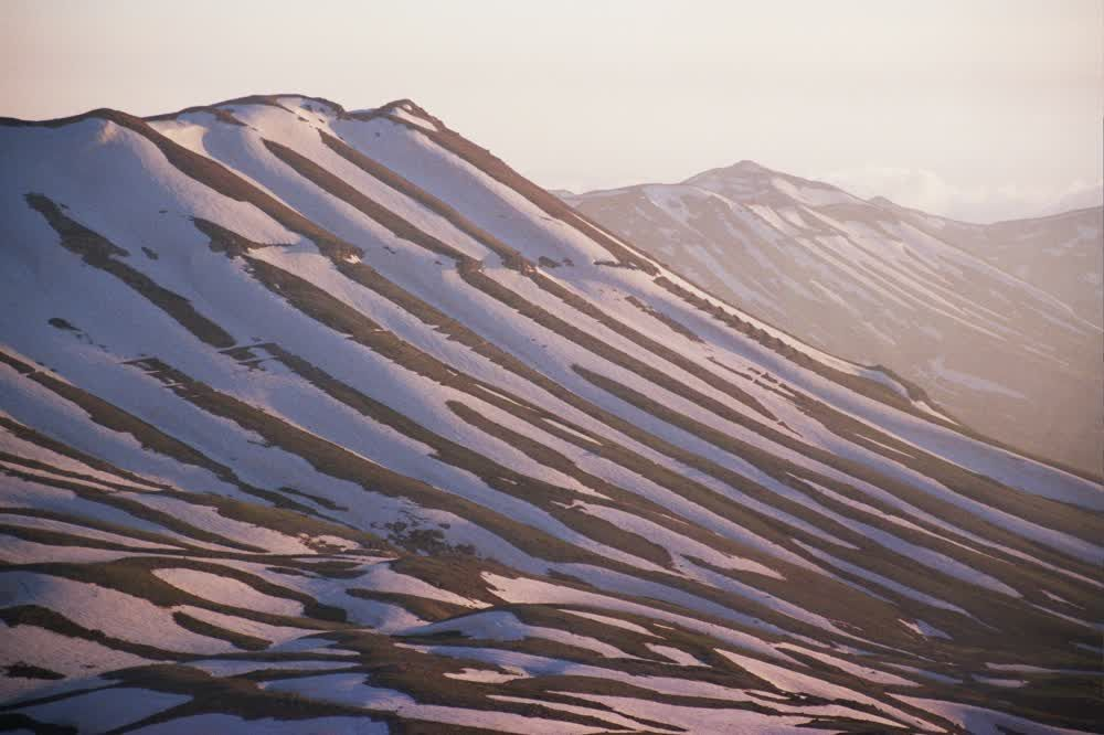 title: Snowy Mountain Slopes of the Cedar Area of Lebanon