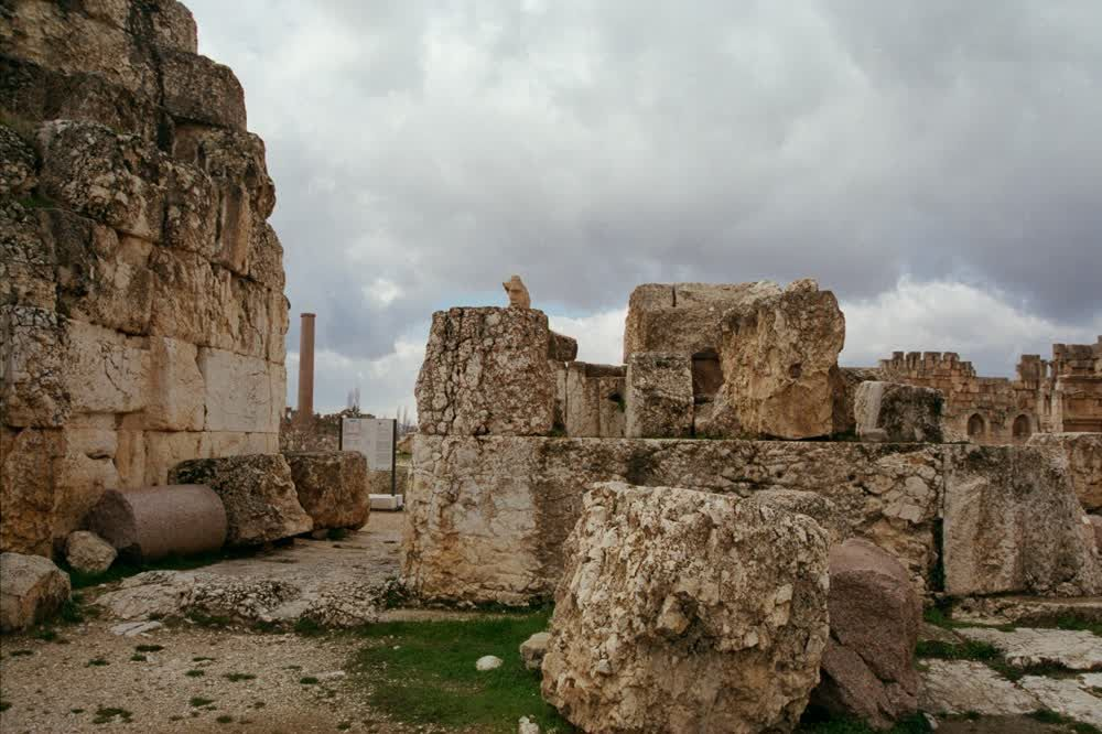 title: Stone Ruins in the Great Court in Baalbeck