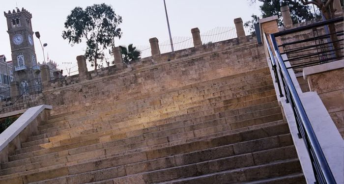 title: Stone Staircase in Downtown by the Roman Ruins