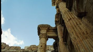 Tall Carved Columns in Roman Site
