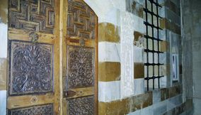 Very Old Vintage Preserved Wooden Ornate Carved Main Door of Beiteddine Palace