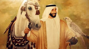 खोज Dubai Sheikh Zayed Painting with Horse and Bird