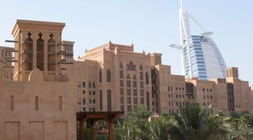 title: Elegant Architecture of Hotel on the Fort Island of Madinat Jumeirah Dubai UAE