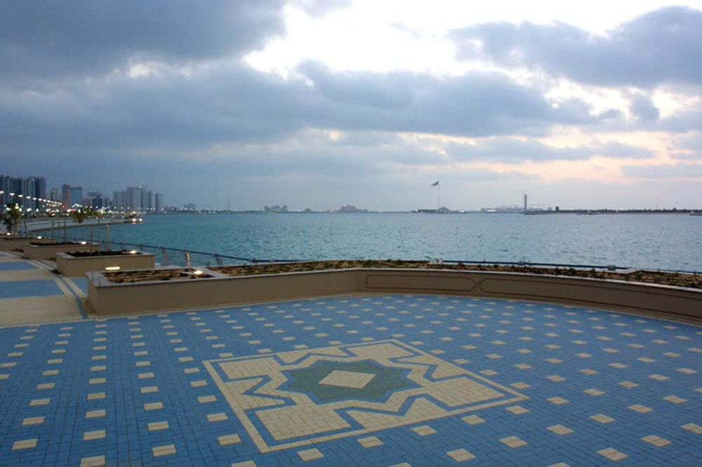 title: Interesting Blue Mosaic Floor Patterns by the Sea