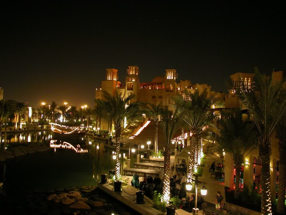 title: Night view of Madinat Jumeirah
