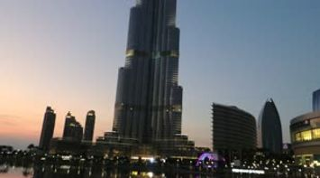 title: Fountains and Burj Khalifa Video at Night