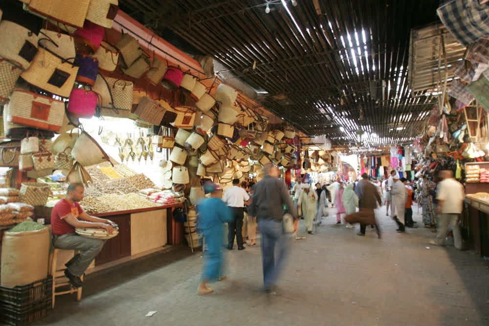 title: Baskets and Bags made of Straw in the Souk of Marrakesh