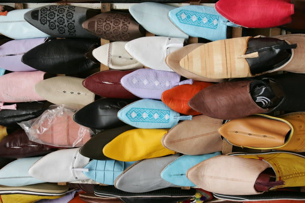 title: Colorful Slippers with Jewels for Sale in the Old Market Souk