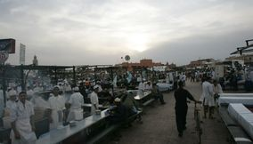 title: Cooks Gathered Around Jemaa elFnaa in Marrakesh
