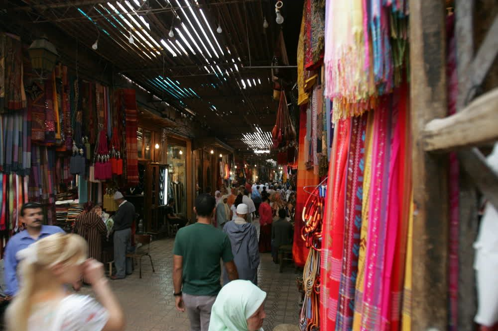 title: Crowded Souks of Marrakesh and Shopping Fun