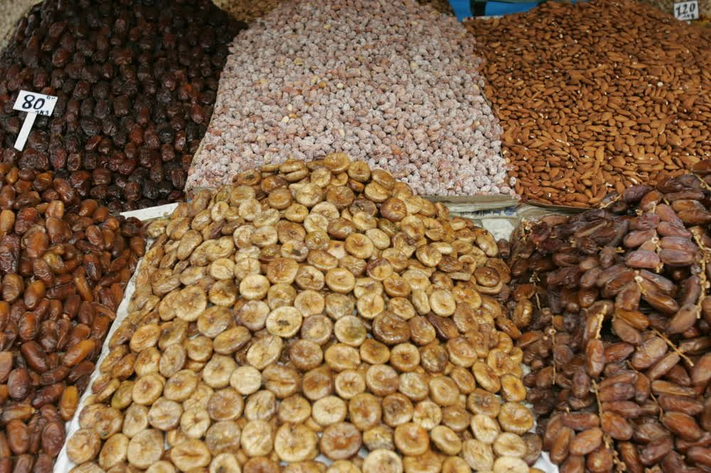 title: Dried Figs Fruits Almonds Peanuts Dates and More for Sale at the Souks