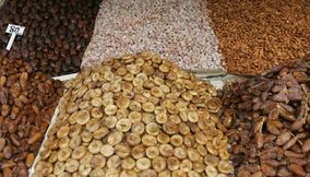 Dried Figs Fruits Almonds Peanuts Dates and More for Sale at the Souks