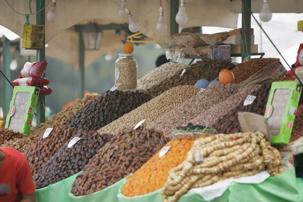 title: Dried Fruits and Nuts for Sale at Market Souks