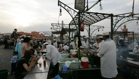 title: The Renowned Night Food Markets with Live Cooking by Moroccan Chefs