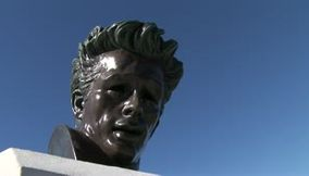 title: Los Angeles Griffith observatory James Dean statue Hollywood sign LA city landscape
