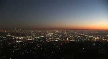 title: Los Angeles Griffith observatory night scene California USA