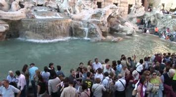 title: Rome People at the Fontana di Trevi Trevi Fountain  Fontaine de Trevi