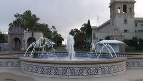 title: San Diego Balboa Park flowing water