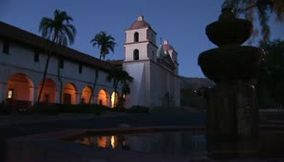 title: Santa Barbara fountain in front of the historic church and monastery