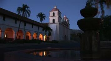 Santa Barbara fountain in front of the historic church and monastery