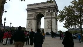 title: Video of the Famous Crowded Venue By the Arc de Triomphe