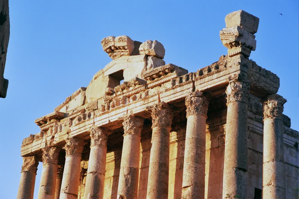 title: Old Ruins of Temple of Bacchus in Baalbeck