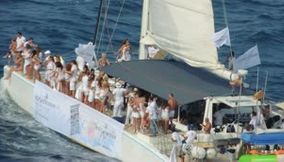 title: Spain Barcelona white party in the middle of the sea