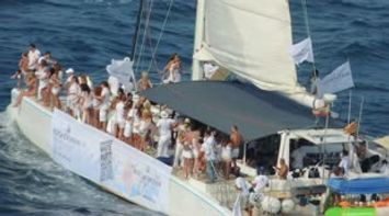 Spain Barcelona white party in the middle of the sea