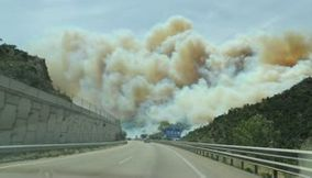 Spain huge fire in the forest a l Autopista