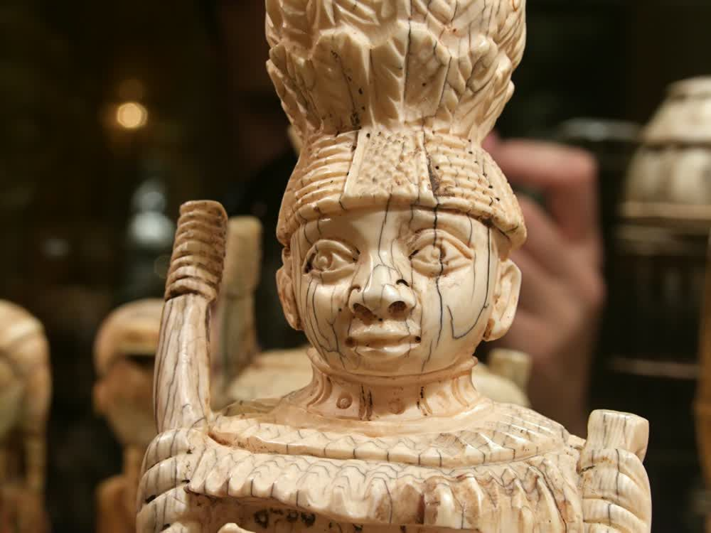 title: Ivory Ancient Sculpture of Old Tribe