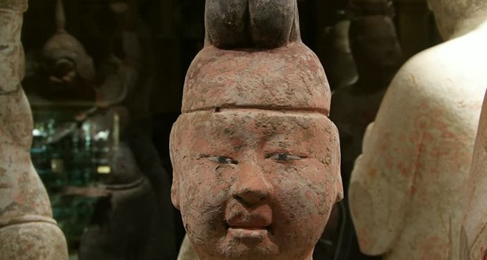 title: Terracotta Clay Head Sculpture at the Art Museum