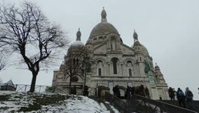 title: Sacre Coeur Montmartre covered with snow