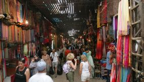 Busy Crowded Souks of Marrakesh in Maroc
